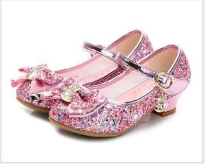 Image 1 - Bloem Kinderen Sandalen Knoop Leren Schoenen Prinses Meisje Schoenen Voor Kinderen Glitter Wedding Party Sandalia Infantil Chaussure Enfant