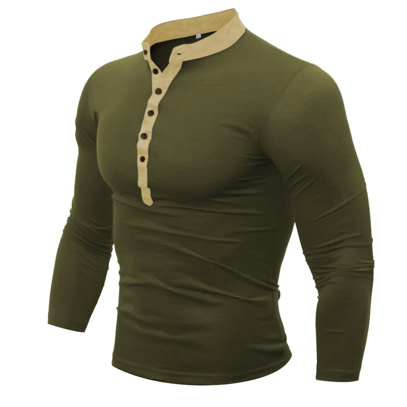 Fllay Men Fashion Floral Print Flap Pockets Patchwork Business Slim Fit Shirt