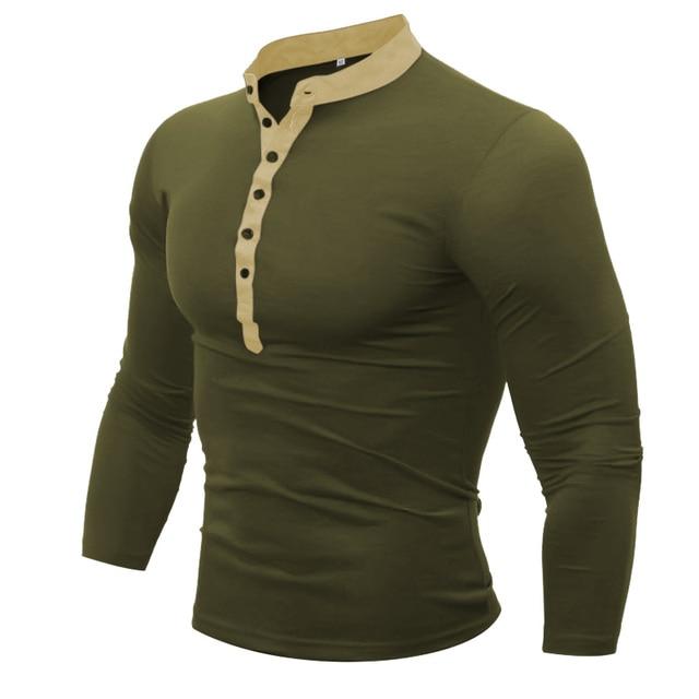 58994e96 Polo para hombre marca 2018 hombre manga larga moda Casual Delgado sólido  cuello pico botón Polos