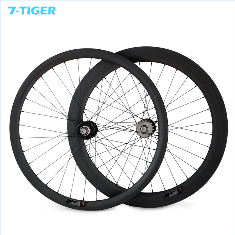 7-TIGER fixed gear <font><b>bike</b></font> 23mm Width front 38mm rear 60mm rims <font><b>fixie</b></font> <font><b>wheel</b></font> Track Carbon Bicycle Clincher or tubular Wheelset image
