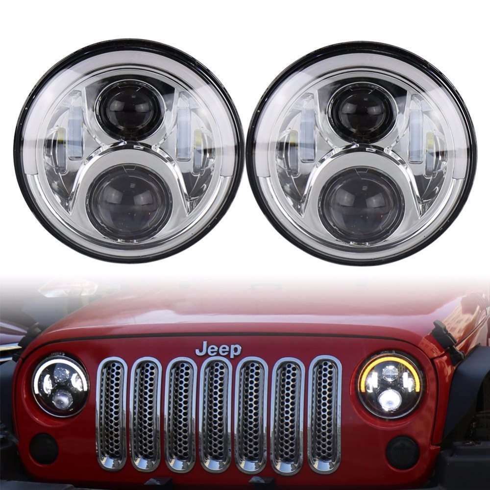 7inch Top Halo Headlights White/ Amber DRL Turn Signal 60W X 2pcs For 1997-2017 Jeep Wrangler TJ JK & Unlimited 7 led halo headlights for jeep wrangler jk jku tj lj rubicon sahara unlimited white drl amber turn signal 4 halo fog light