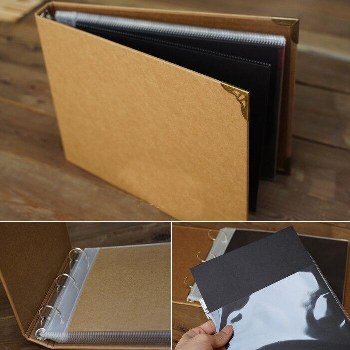 A4 Vintage Kraft carte couverture blanche à l'intérieur de fil-reliure bricolage à la main Albums pour images bâton-preuve ensachage créatif Scrapbooking