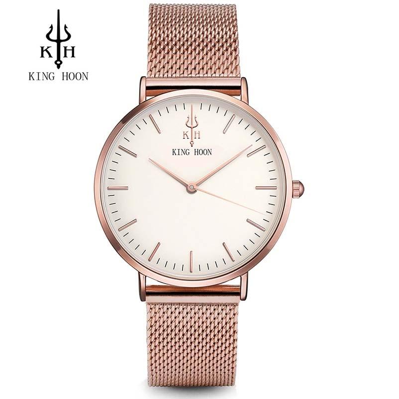 Cuarzo de lujo Relojes de Las Mujeres Diseñador Impermeable Mujer Reloj de pulsera Rhinestone Reloj de Las Señoras Pulsera Relogio Feminino KING HOON