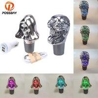 POSSBAY Universal Gear Shift Knob Skull Head Lighted Manual Transmission Gear Stick Lever Shift Knob Multi color Gear Shift