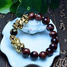 Натуральный камень обсидиан тигровый глаз бусины браслет с двойной Lucky Pixiu для женщин мужчин фэн шуй Будда молитва Ом ювелирные изделия