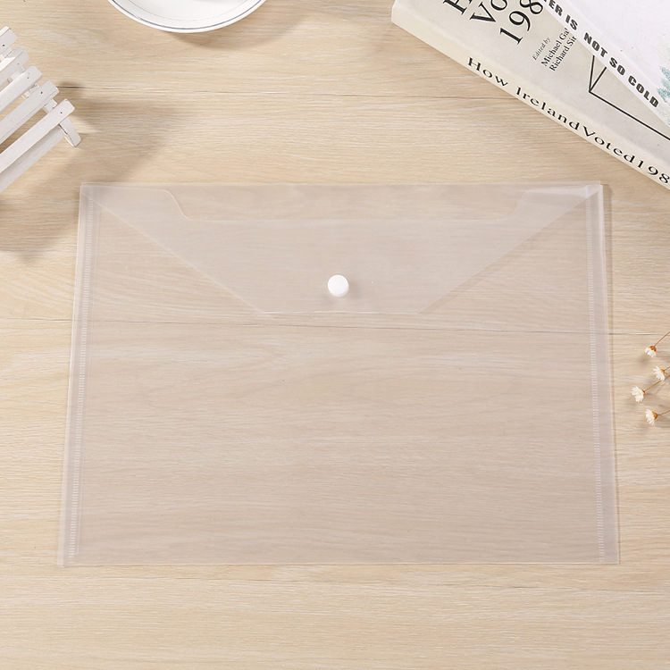 50pcs A4 Transparent Office Study File Bags, Transparent Folder,Closure Folder,white Information Bag