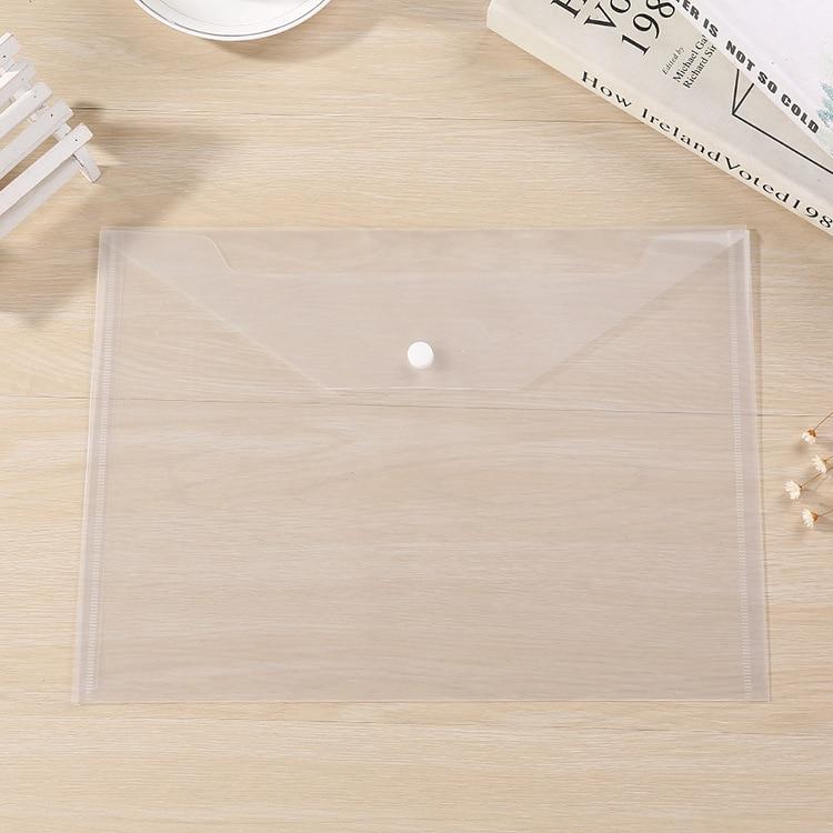 50pcs A4 Transparent Office Study File Bags, Transparent Folder,Closure Folder,white Information Bag