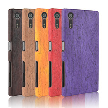For Sony Xperia XZ F8331 Case Hard PC+PU Leather Retro wood grain Phone Cover Luxury Wood