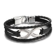2016 New Arrival Silver plated Infinity Bracelet Bangle Genuine Leather Hand Chain Buckle friendship men women bracelet