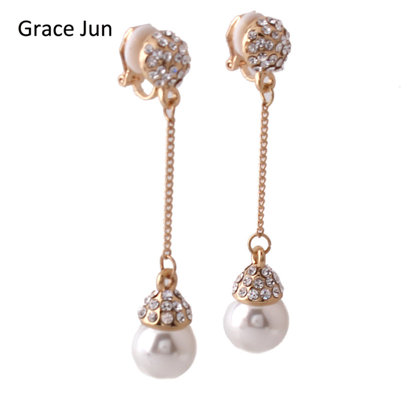 Grace Jun 4 Colors Choose Luxury Bride Rhinestone Simulated Pearl Long Tassel Clip on Earrings Non Piercing  for Girls Good Gift