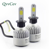 Qvvcev Car Led Lights 8000LM 72W H3 Car Headlight Fog Lights Led Auto Lamps Light Bulbs