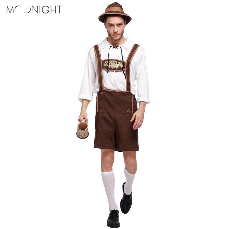 MOONIGHT German Oktoberfest Costume Beer Men Festival Halloween Cosplay Male Adult Stage Performance Clothing Size M L XL XXL
