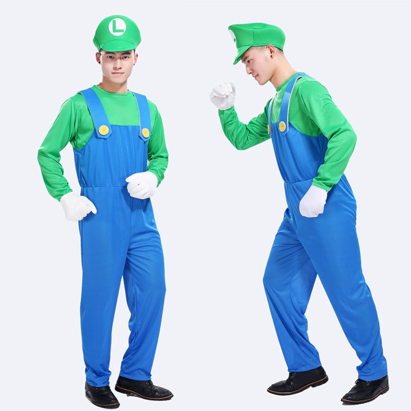 Free shipping cosplay adult Halloween costume party clothes Louis Super Mario costume party paternity Louis costumes