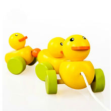 Free shipping Baby wooden yellow duck trailer, Children educational toys Drag the toy exercise baby crawl and walk