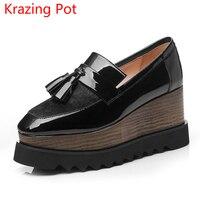Handmade Autumn Shoes Horsehair Square Toe Tassel Platform Design Wedges Pumps Runway Models High Heel Women