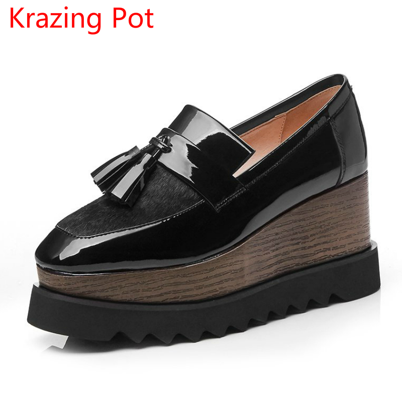 Handmade Autumn Shoes Horsehair Square Toe Tassel Platform Design Wedges Pumps Runway Models High Heel Women Casual Shoes L33 genuine cow leather spring shoes wedges soft outsole womens casual platform shoes high heel round toe handmade shoes for women