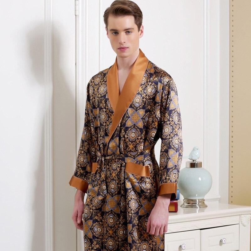 Silk Robes Male Long-Sleeve Fashion Printed Bathrobe Robe 100% Silk Men's Sleepwear Kimono Home Furnishing Large Code