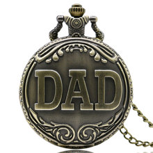 Antique Bronze Dad Pattern Quartz Pocket Watch with Necklace Fob Watch Father's Day Gift
