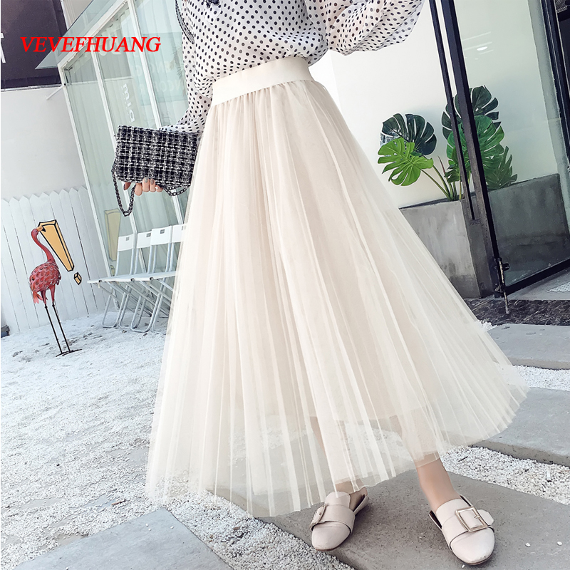 Korean Fashion Saia Feminina Mesh Skirts 2018 New Women High Waist Long Skirt Female Summer Pleated Skirts