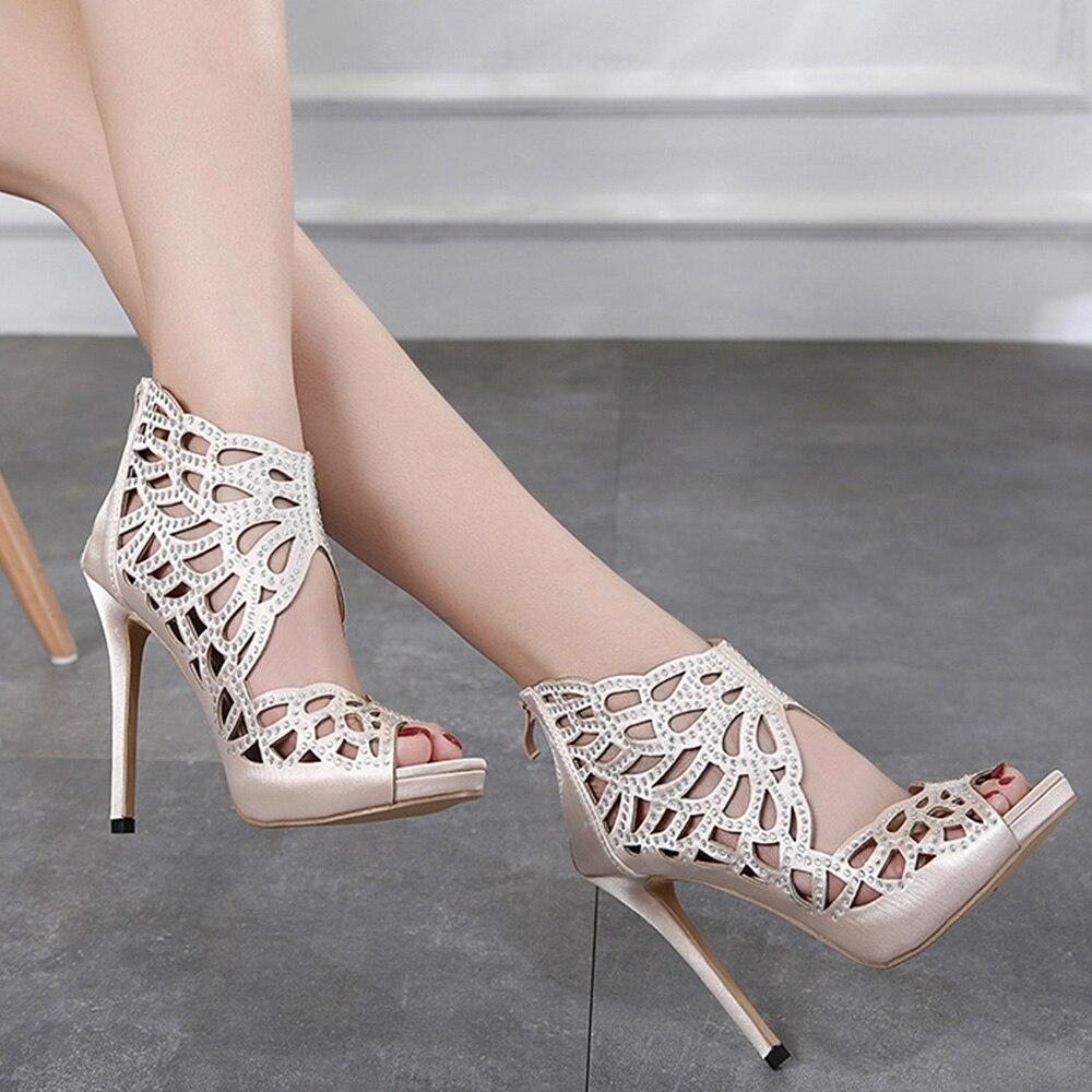 Femmes Marque Cristal Kaki Bottes Sexy Talons Designer Hauts Discothèque Partie Weiqiaona 2018 Chaussures Sandales Courtes Zipper À 5tfwqX