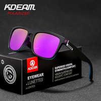 Gafas de sol polarizadas con espejo KDEAM nuevas gafas de sol cuadradas para hombre gafas de sol deportivas para mujer gafas de sol con bisagra de Metal UV400 KD156