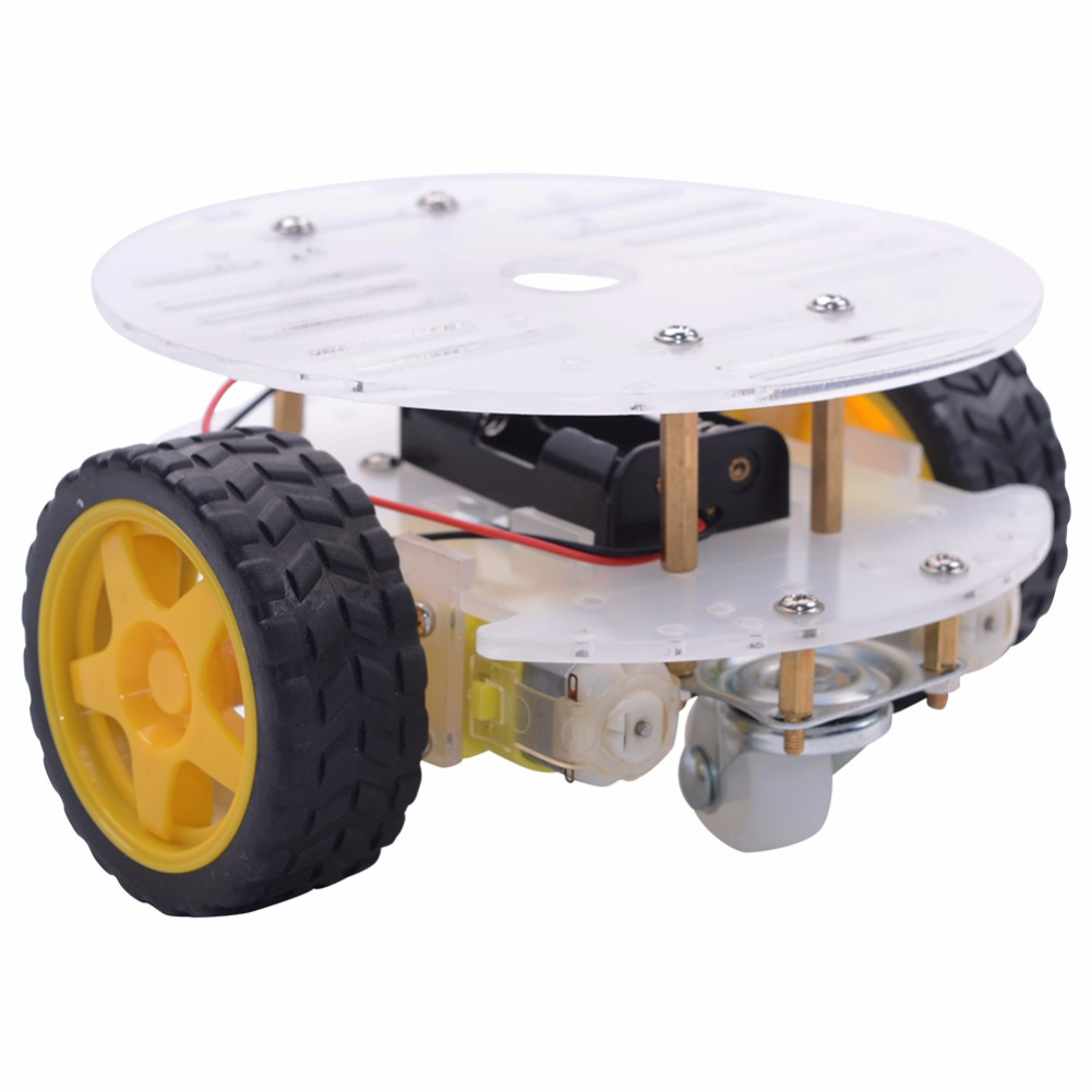 smart robot car chassis diy kit 2WD mini round double-deck smart robot car chassis diy kit for arduino new aluminum alloy chassis robot car 2wd