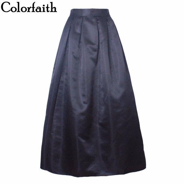 990cae9078 Long Skirt Women 100cm Casual Ball Gown Fashion Satin Retro Vintage Solid  Plain High Waist Pleated