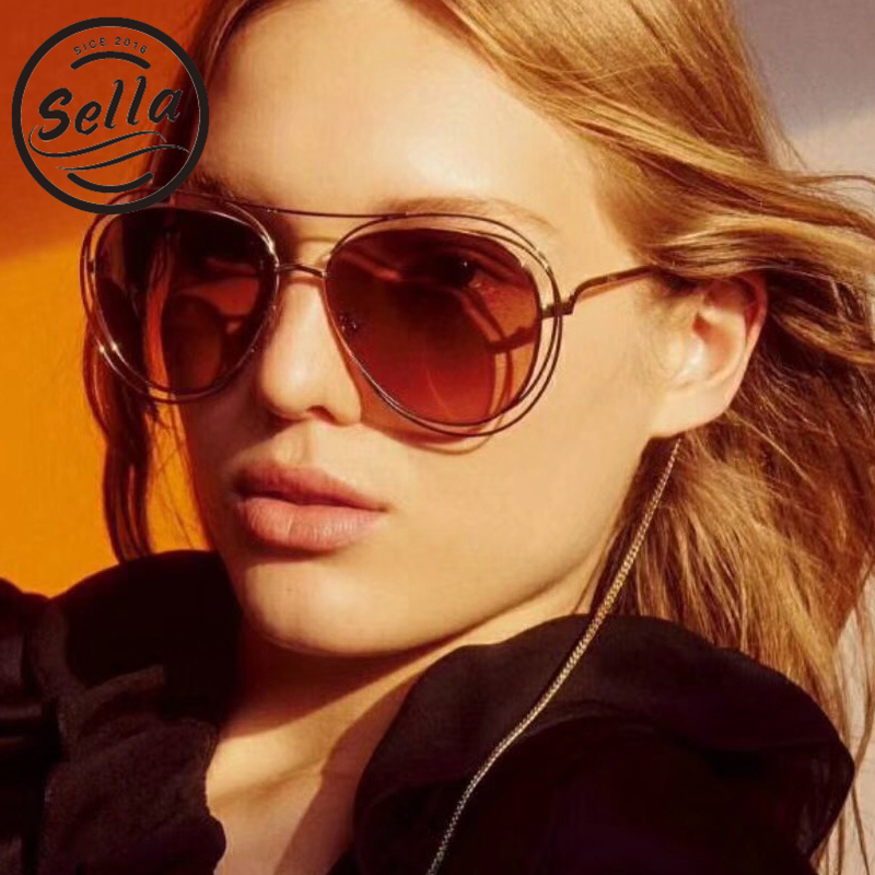 Sella 2018 New Fashion Women Retro Oversized Pilot Sunglasses Brand Designer Summer Trending Hollow Out Gradient Lens Sun Glasse