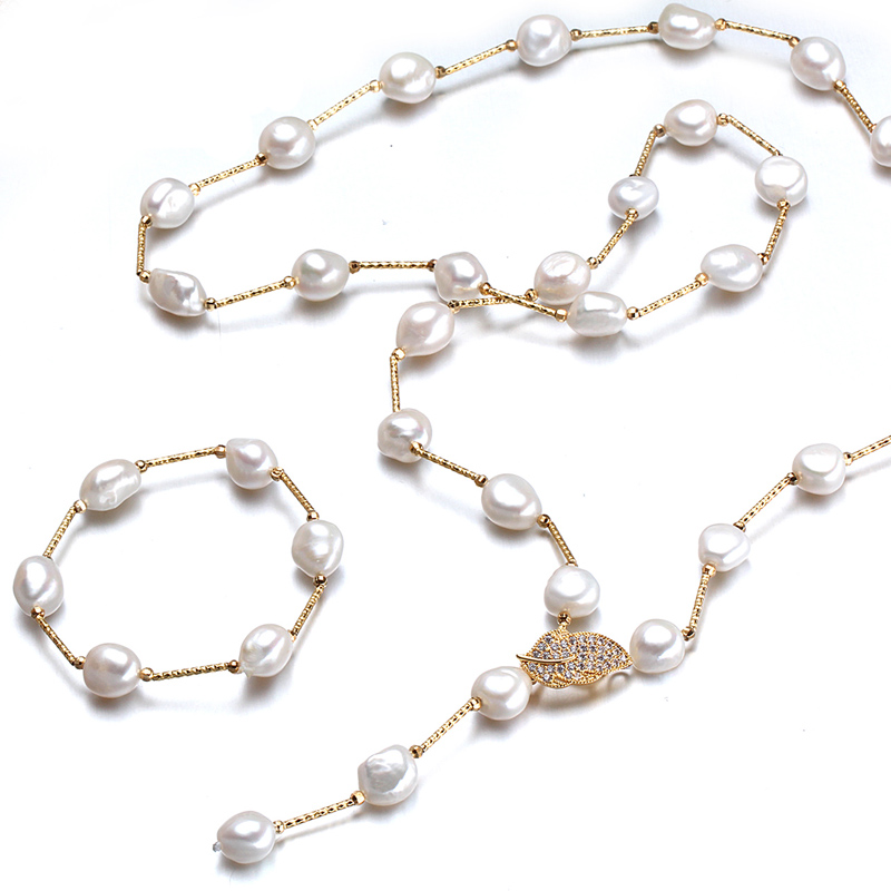 Fashion Baroque Pearl Jewelry Sets 9-10mm Multicolor Freshwater Pearls necklace bracelet sets Bridal Jewelry sets birthday gift
