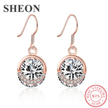 SHEON Casual Fashion Style 925 Sterling Silver Dazzling Round Zircon Drop Earrings For Women Jewelry