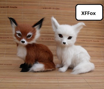 a pair of real life fox models plastic&furs simulation sitting fox dolls gift about 11x8x15cm xf1737