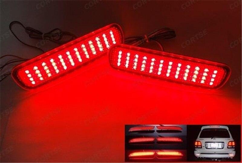 ФОТО LED Rear Bumper Reflector Light Backup Tail Brake Light Parking Warning Night Running Light For Lexus LX470 Toyota Land Cruiser