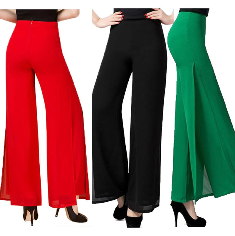2016 Summer High Quality Fashion OL Temperament Women Chiffon   Wide     Leg     Pants   Plus Size S - 4XL Black White Red Trousers   pants
