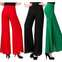 2016 Yaz Yüksek Kalite Moda OL Mizaç Kadınlar Şifon Geniş Bacak pantolon Artı Boyutu S-4XL Siyah Beyaz Kırmızı Pantolon pantolon