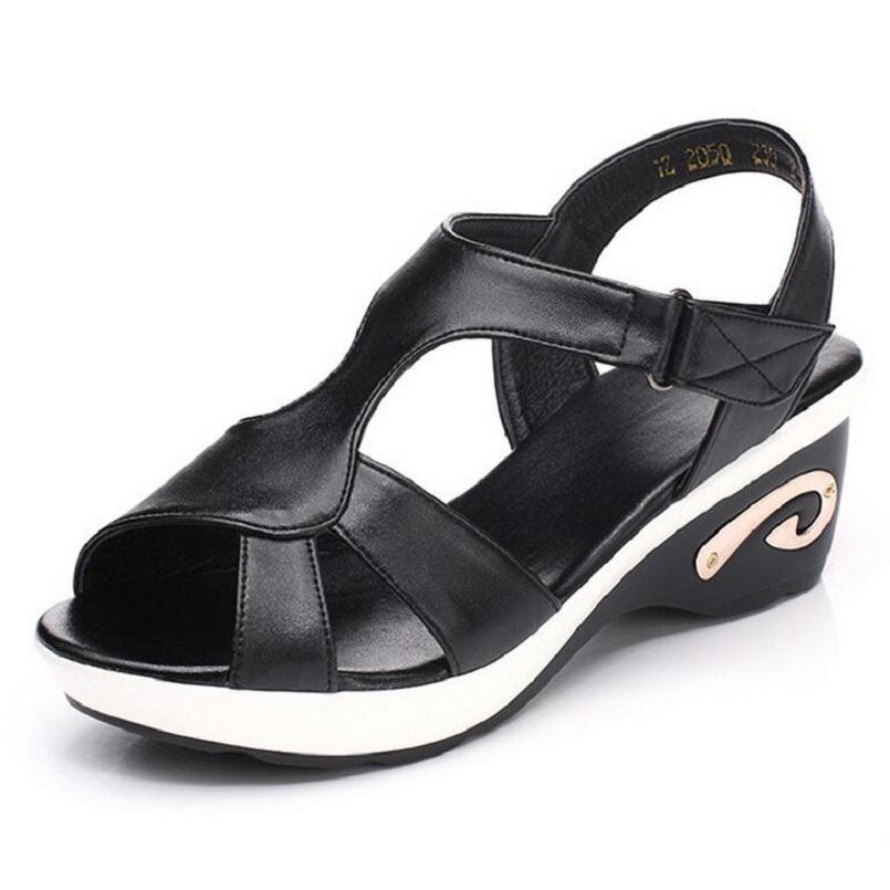 ФОТО Women Sandals Genuine Leather Hollow Out Summer Shoes Open Toe Casual Sandals T-strap Wedges Women's Shoes Plus Size 35-42