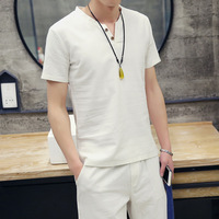 Short Sleeve T Shirt Male V Korean Style Japanese Summer Brand Clothing Student Bottoming Suit