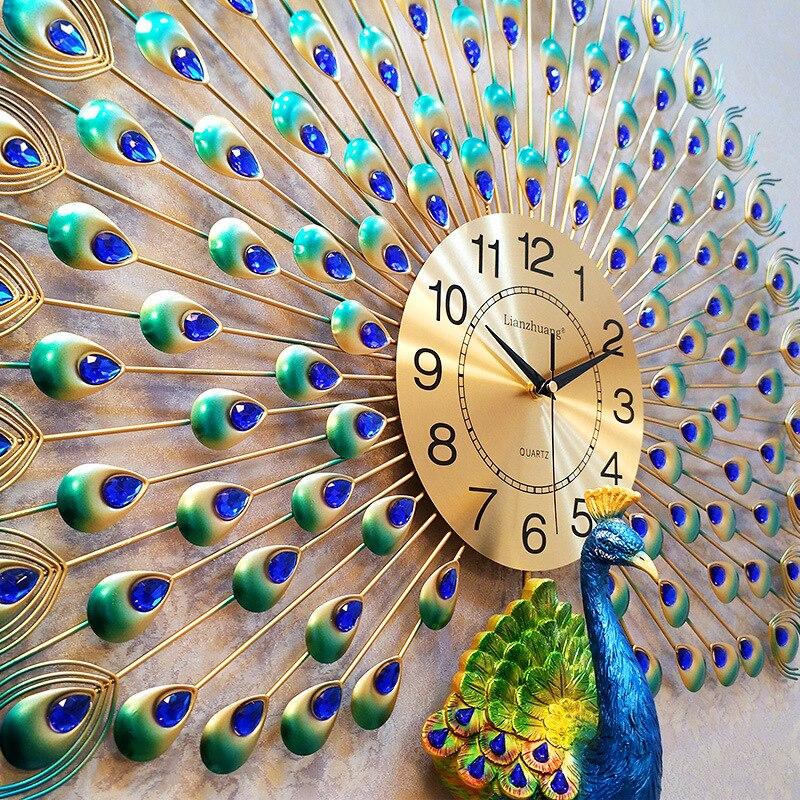 Grande horloge murale paon Design moderne décor à la maison montre murale salon chambre muet horloge murale métal numérique horloges murales - 3