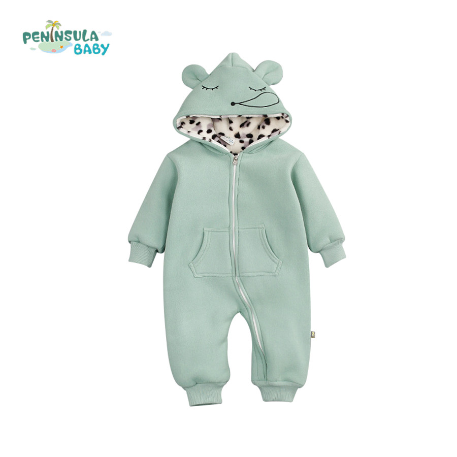 Cute Baby Romper Boy Girl Clothes Long Sleeve Ears Hooded Infant Jumpsuit With Pockets Autumn Winter Newborn Climb Clothing unisex winter baby clothes long sleeve hooded baby romper one piece covered button infant baby jumpsuit newborn romper for baby