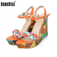 KemeKiss Lady Wedges Sandals Mixed Color Ankel Strap Summer Shoes Women Platform Beach Vacation Party Footwears