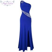 Женское дл.веч.платье, с бисером, Angel-Fashions, синее длинное вечернее платье с одним открытым плечом и разрезами, расшитое бисером, модель 075 411
