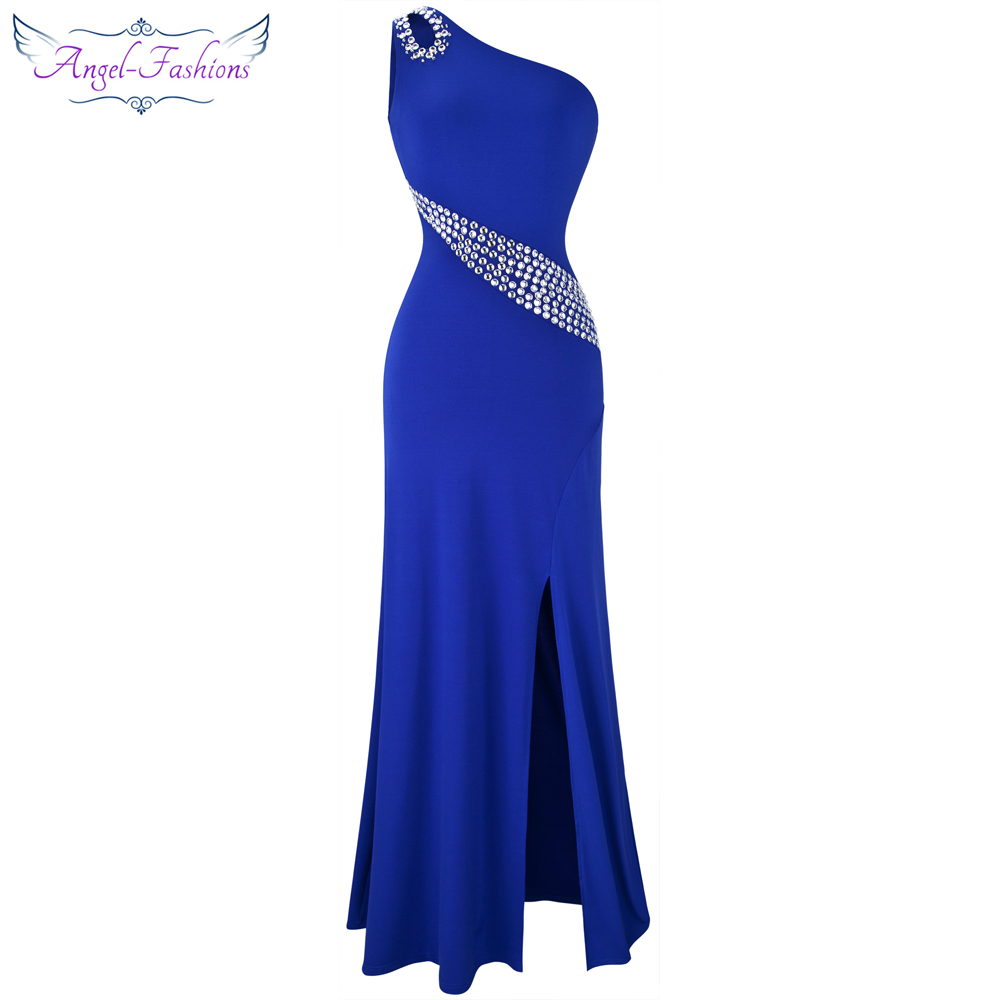 Angel-fashions One Shoulder Beading Split Hollow Out Long Evening Dress Blue 075