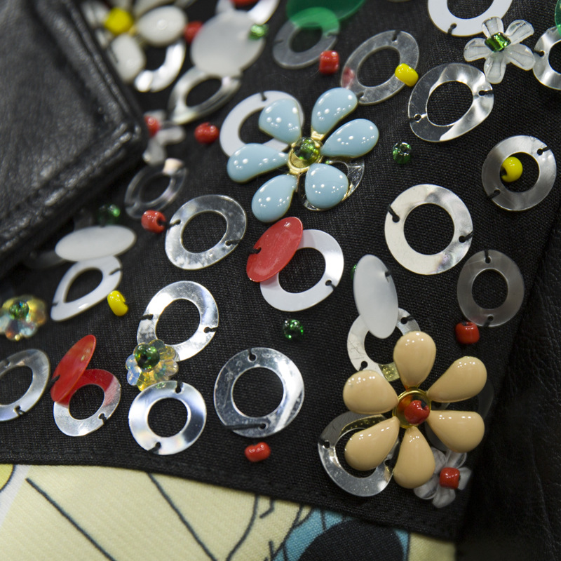 En Pu Streetwear Biker Mode Lâche Manteau Style Femmes Black Veste Paillettes Automne De Punk Impression Daim Rivet Vestes Cuir qTBH7EAWIw