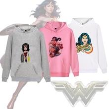 DC Comics WonderWoman Cute cool Pattern Printed Illustration Trendy Harajuku Hoodie with Pocket Winter Junior Pullover