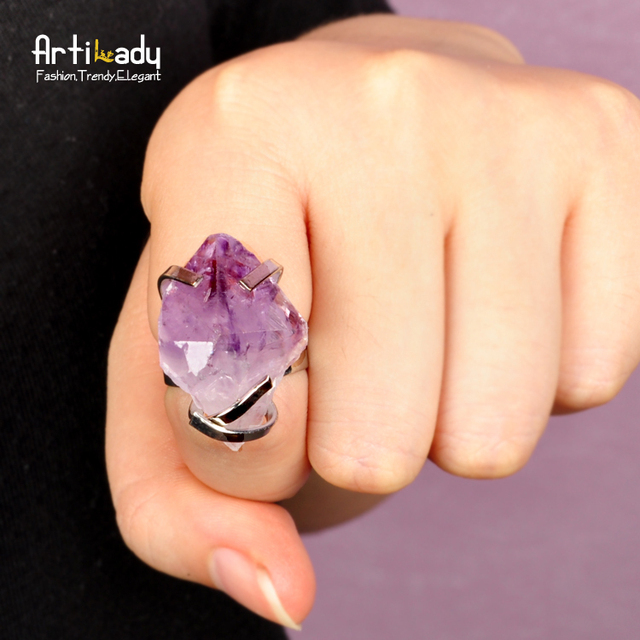 Artilady new desgin 2colors rough  amethyst crystal drusy topaz ring druzy ring adjustable for women