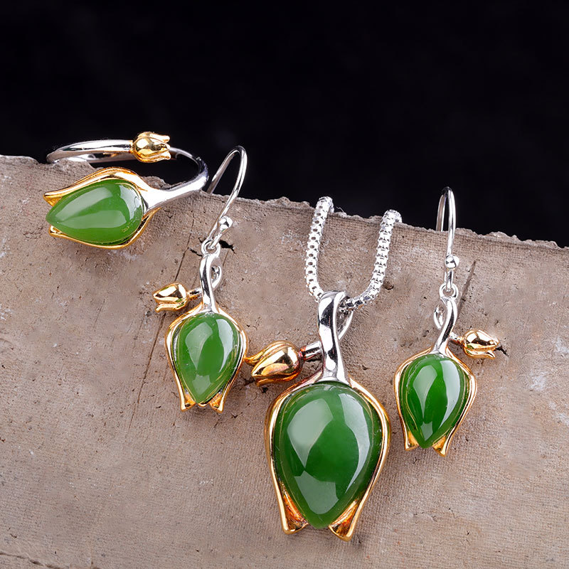 Natural Green Jade tulip rings+Earrings+necklace Real 925 sterling Silver Gift tray Supply Vintage pendant with Box
