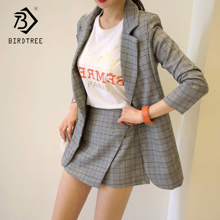 Summer Fall Office Lady V Neck Gray Plaid Suit Full Sleeve Jacket Top High Waist Mini Skirt Shorts Woman 2 Piece Set Hot S87434X