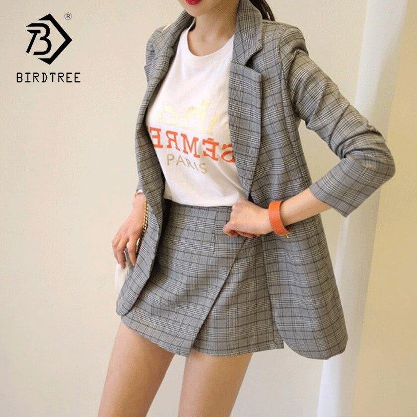 Summer Fall Office Lady V Neck Gray Plaid Suit Full Sleeve Jacket Top High Waist Mini Skirt Shorts Woman 2 Piece Set Hot S87434X
