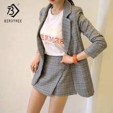 Summer Fall Office Lady V-Neck Gray Plaid Suit Full Sleeve Jacket Top High Waist Mini Skirt Shorts Woman 2 Piece Set Hot S87434X