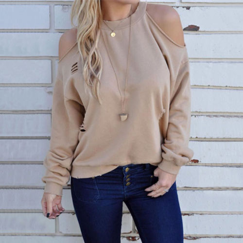 f82ba5ffc0d84 Women Clothing Hoodies Chic Loose Casual Off Shoulder Long Sleeve Cut Off  Broken Holes Sweatshirt