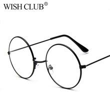 Vintage Transparent Women Glasses Metal Full Frame Optical Round Lens Glasses Female Men Clear Reading Plain Glasses Oversized